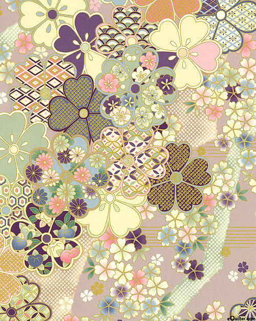 Big Blossoms - Dusty Mauve/Gold | Hana Zukishi​​​​​​​ | Quilt Gate Fabrics