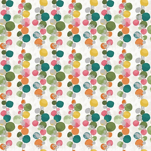 Bloom Dot Vine on Bloom/Silver | Mixed Metals Collection | Hoffman Fabrics
