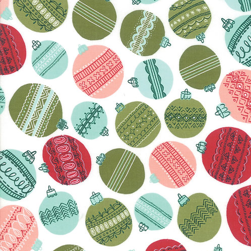 Christmas Ornaments on Snowflake | To Be Jolly Collection | Moda Fabric