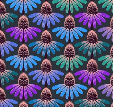 Echinacea Amethyst   Hindsight Collection   Free Spirit Fabrics