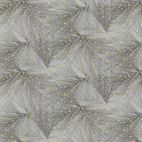 Branch in Pewter/Gold  | Mixed Metals Collection | Hoffman Fabrics