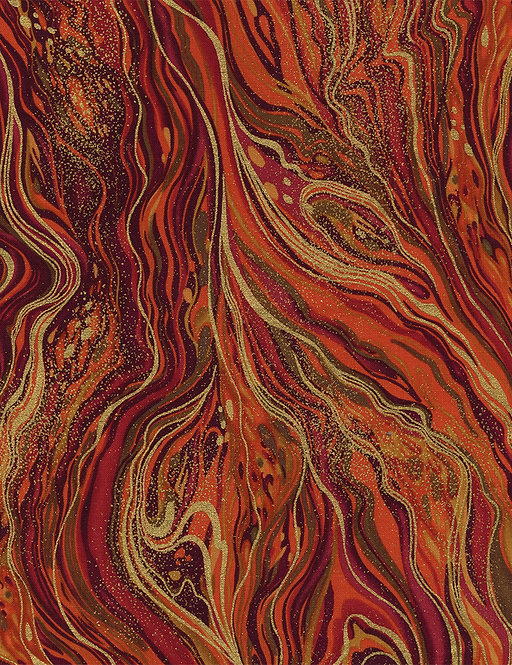 Abstract Marbling Metallic Harvest | Enchanted Plume | Timeless Treasures
