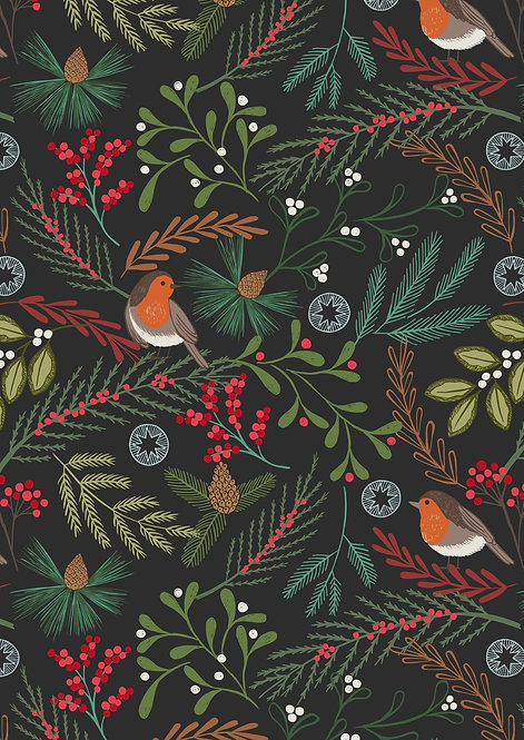 Robins on Black  | New Forest Winter Collection | Lewis and Irene