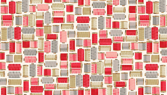 Cotton Reels in Pink | Stitch in Time Collection | Makower UK