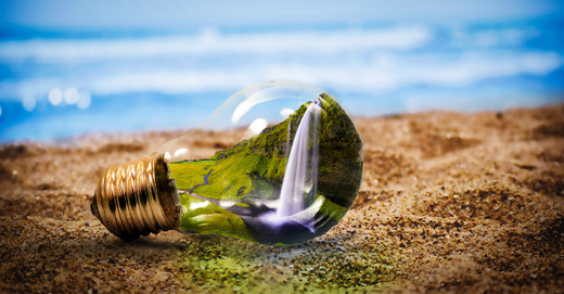Lamp on a beach with nature inside