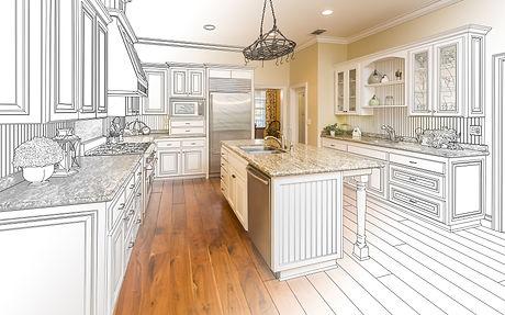 Beautiful Custom Kitchen Design Drawing and Gradated Photo Combination..jpg