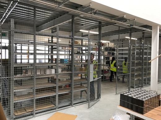 Securing a warehouse perimeter, for additional security, using welded mesh panels