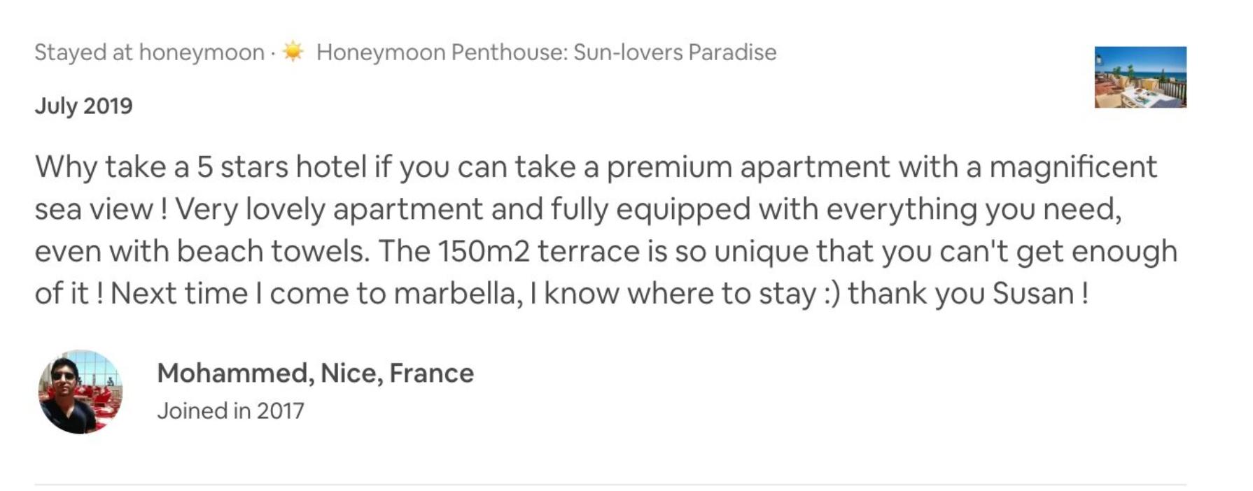 Criticas de cinco estrellas Airbnb apartamento de playa