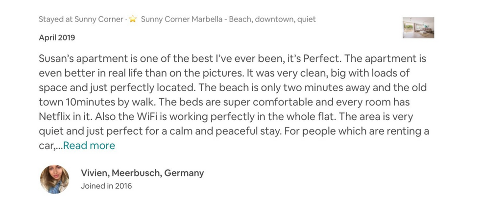 Evaluaciones Airbnb positivas de cinco estrellas