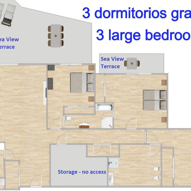 Plan del piso 3 dormitorios terraza sur vista mar