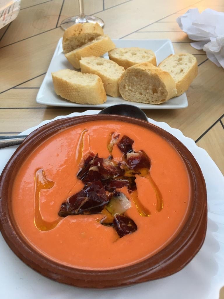 a bowl of salmorejo in Marbella center tapas bar