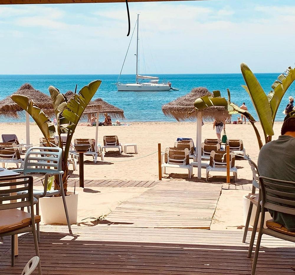 Perla blanca terrace and beach in May 2021