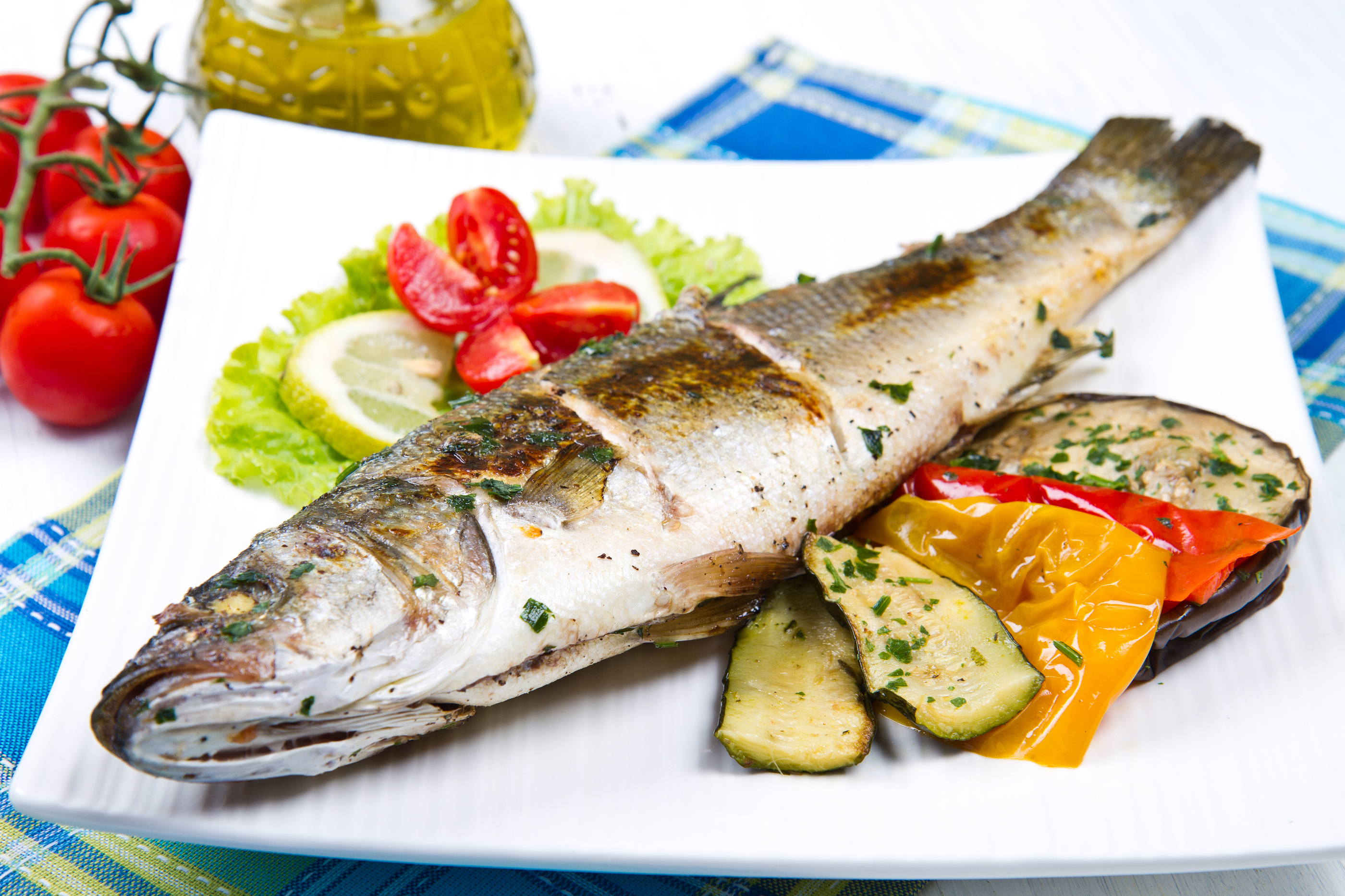 Fish, Sea Bass Grilled With Lemon And Grilled Vegetables.jpg
