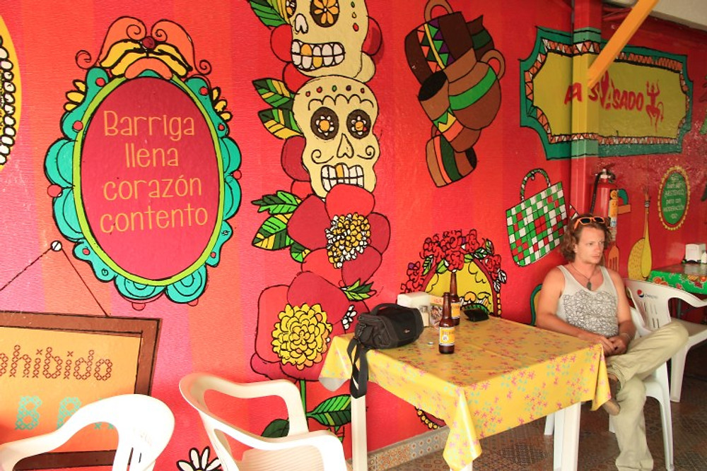 Colorful mural at our favorite taco place. cabo road trip