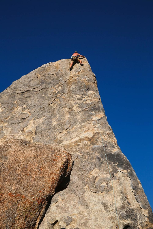 Climbing Shark Fin Rock in Alabama Hills, California