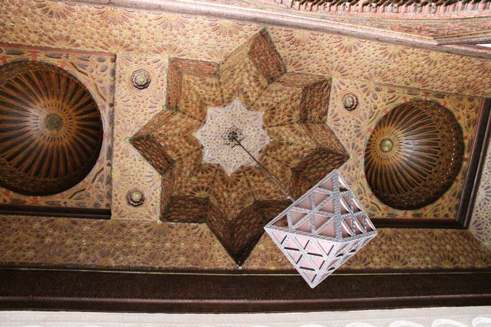 Intricate mosque ceiling on display in the Kasbah Museum, Tangier