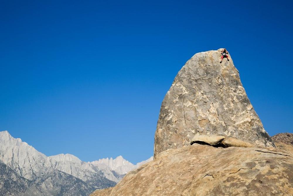 Climbing Shark Fin Rock in Lone Pine, Californai