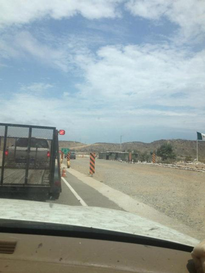 Waiting in line at one of many military checkpoints. Baja Mexico road trip advice