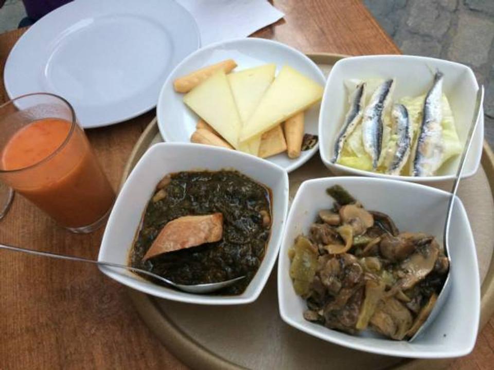 Gazpacho, cheese, sardines, spinach/chickpeas, and mushrooms