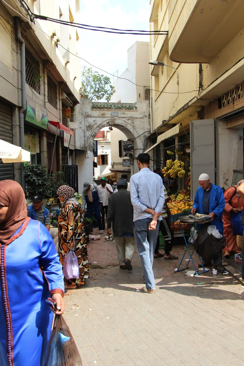 """Walking through the """"medina"""", the old city/marketplace in Tangier."""