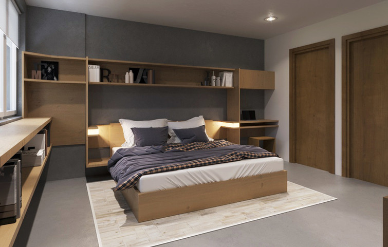 Bedroom with built-ins + sliding closets