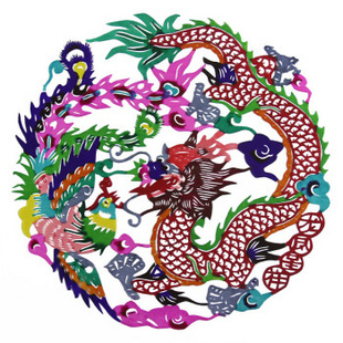 Chinese Paper-cutting_ Dragon and Phoenix