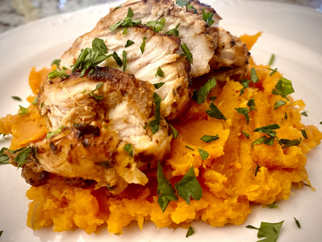 Pan-seared garlic-lime-oregano  chicken with honeyed butter & thyme sweet potato mash