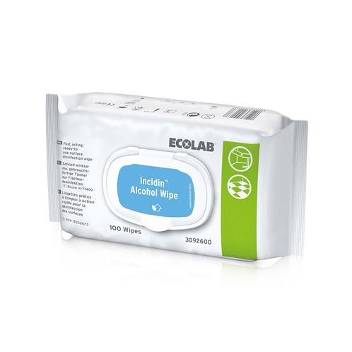 ECOLAB INCIDIN™ LINGETTES AVEC ALCOOL 200 x 200mm (100 PIÈCES)