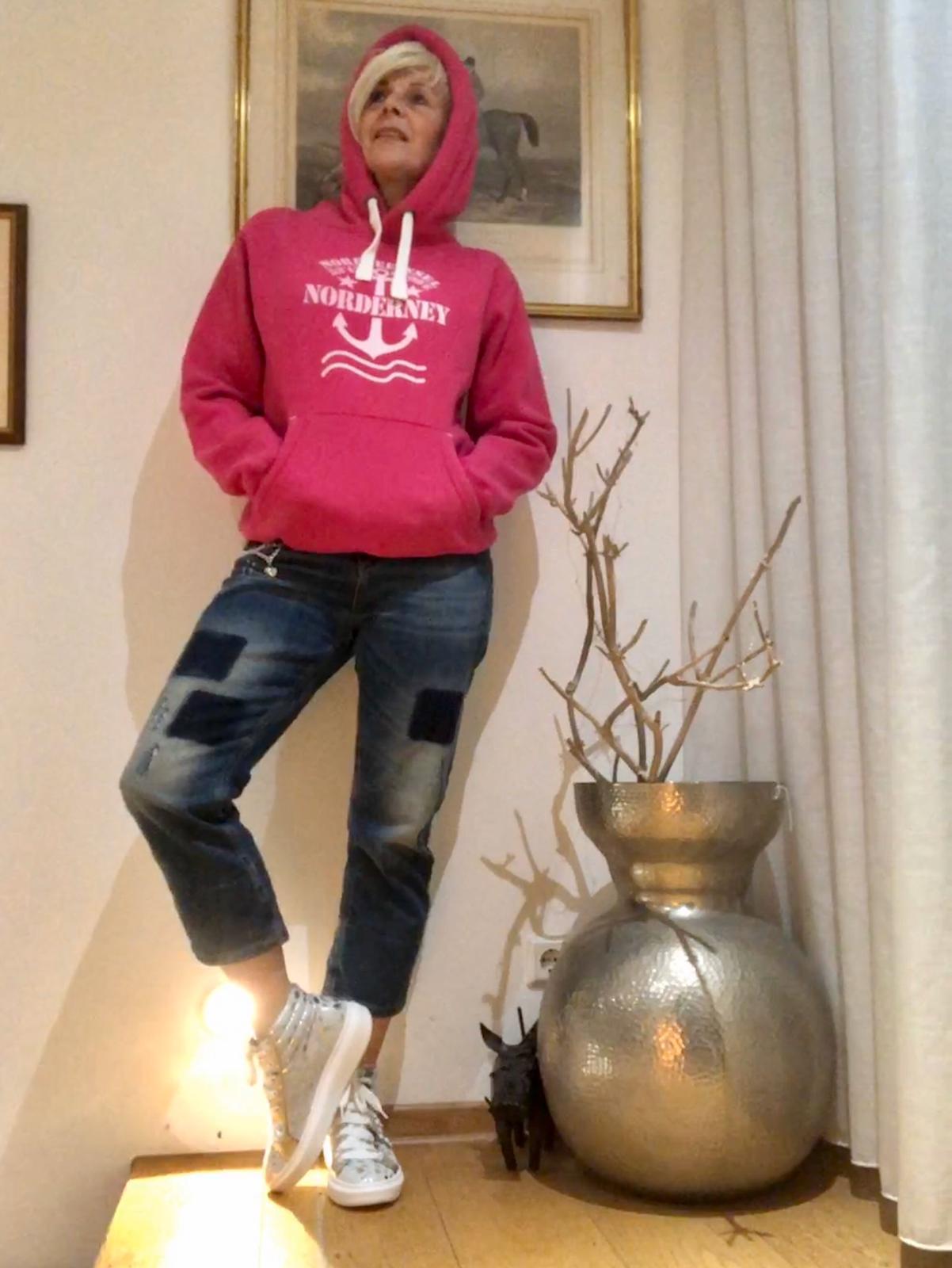 Hoody Norderney Koordinaten Anker Wellen pink