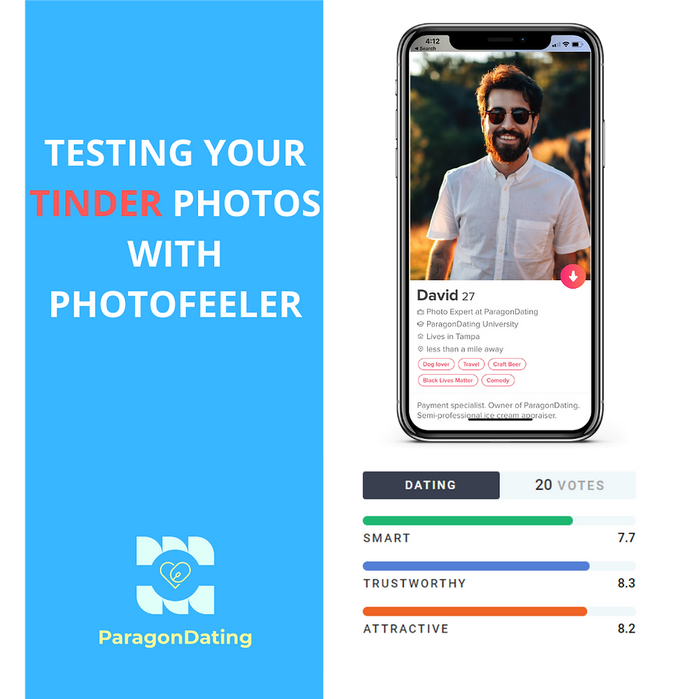 Testing Your Tinder Photos With Photofeeler. Use Photofeeler to select good tinder profile pictures. Learn how photofeeler provides a data driven method for selecting your best tinder photos. Use Photofeeler to test Tinder, Bumble, Hinge, and Match profile photos. Photofeeler can help you understand how to take tinder pictures by yourself.