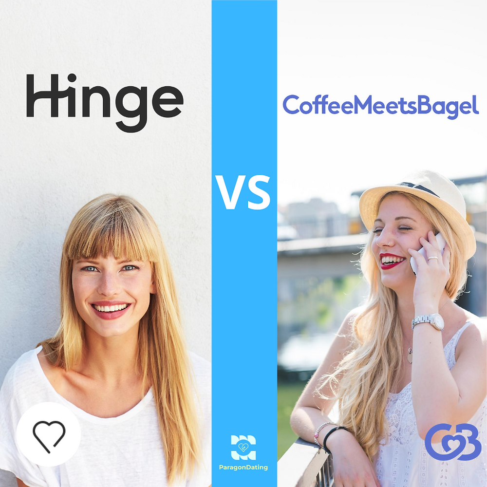 hinge vs coffee meets bagel. Comparing coffee meets bagel profiles to hinge profiles. Hinge preferred member features vs coffee meets bagel profile subscriptions. Hinge includes features such as Hinge profile questions. Coffee Meets Bagel features include suggested likes, receiving free coffee meets bagel beans per day, and was seen on shark tank.