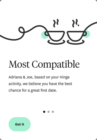 Hinge most compatible. Hinge uses machine learning to pair singles that are likely to result in a great first date. Hinge notifies users of potential most compatible profiles in their 'likes you' section.