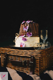 Rustic wedding cake with Orchids