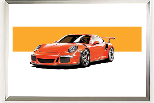 2016 Porsche 911 GT3 RS (Lava Orange) art print   Alfred Newbury
