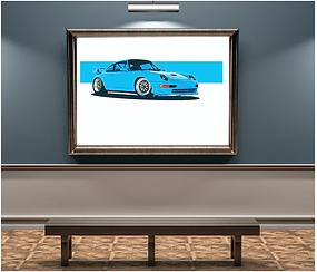 1997 Porsche Turbo S 993 Riviera Blue Art Print.png