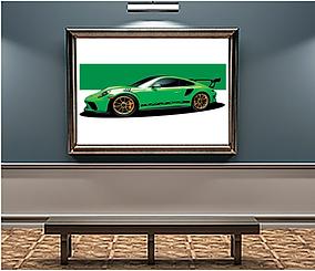 2019 Porsche GT3 RS Green Wall Print