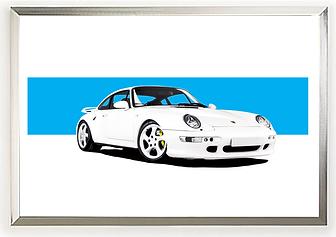 1997 Porsche 993 Turbo S (White) Wall art.