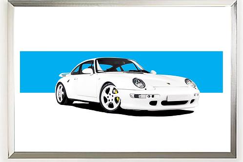 1997 Porsche (911) 993 Turbo S art print | Alfred Newbury