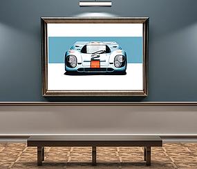 1970 Gulf Porsche 917 art by Alfred Newbury