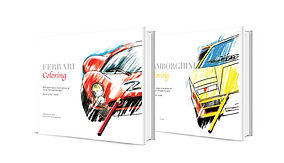 Ferrari Coloring Book featuring a 330 P4 a lamborghinin countach  on it