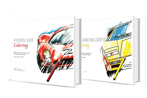 Hardcover Ferrari and Lamborghini Coloring Includes Volumes 1&2 of each car