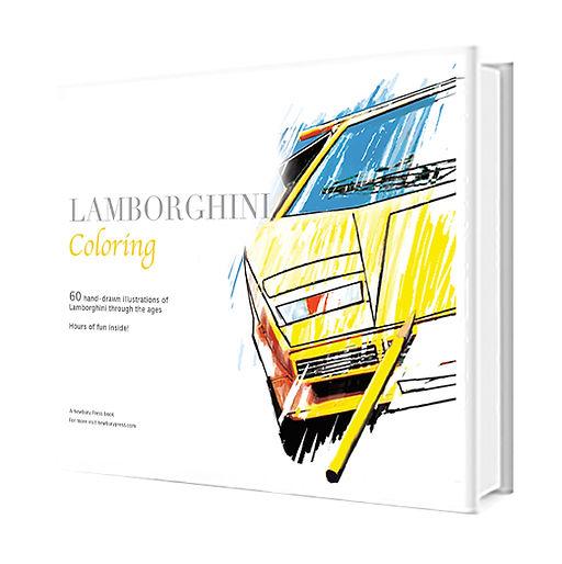 A Lamborghini coloring book with a Lamborghini Countach on it