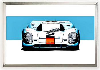 1970 Gulf Porsche 917 wall art by Alfred Newbury
