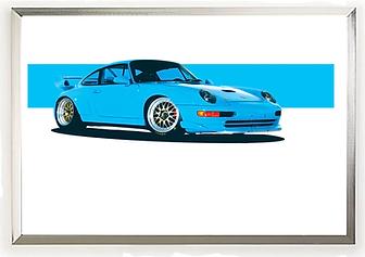 Porsche 993 Riviera Blue Wall Art.png