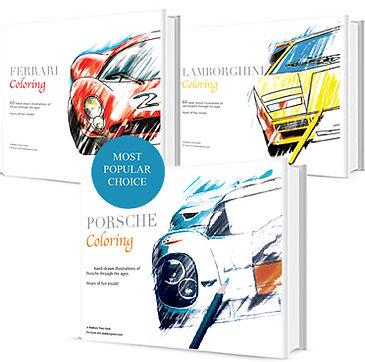 Ferrari Coloring Book featuring a 330 P4 a lamborghinin countach and Porsche 917 on it