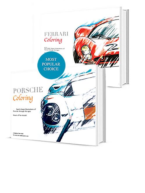 Hardcover Porsche & Ferrari  Coloring Book
