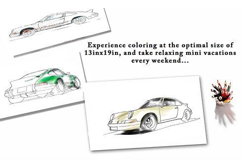 Porsche 911 Carrera RSR Classic Coloring Trio