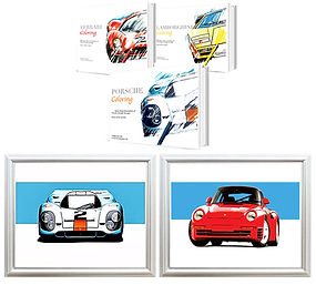 Ferrari Coloring Book featuring a 330 P4 a lamborghinin countach and Porsche 917 on it. A Porsche 917 art print with a Porsche 959 art print