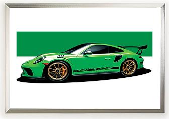 2019 Porsche GT3 RS green wall art