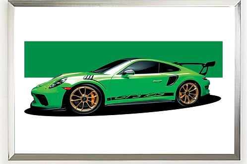 2019 Porsche 911 GT3 RS (green) art print   Alfred Newbury